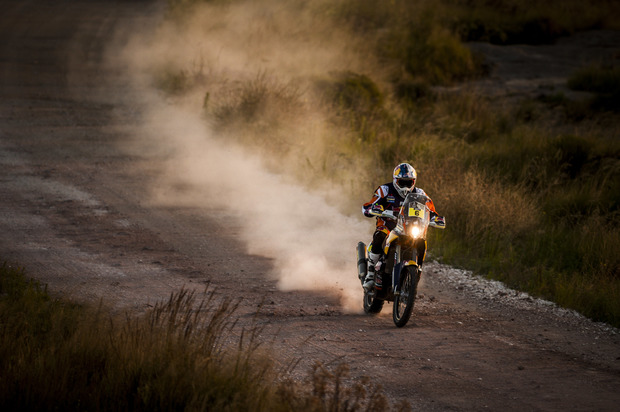 A motorcyclist competes in the 2015 Dakar Rally in Argentina.