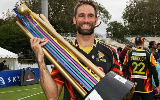 Wellington allrounder Grant Elliott with the domestic Twenty20 trophy.