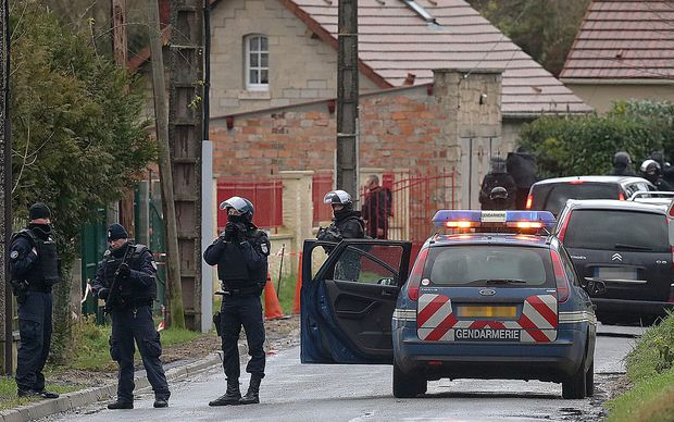 Members of GIPN and of RAID, French police special forces in Corcy, near Villers-Cotterets, north-east of Paris.