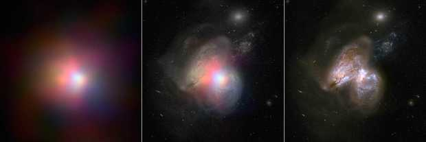 The real monster black hole is revealed in this new image from NASA's Nuclear Spectroscopic Telescope Array of colliding galaxies Arp 299.