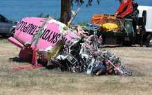Wreckage from the Skydive Taupo plane salvaged from the lake.