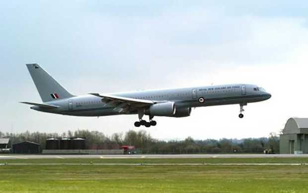 A New Zealand Defence Force 757 jet aeroplane.