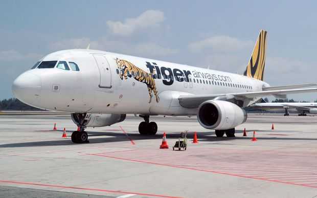 A plane from budget airline Tigerair at Changi International Airport in Singapore (February 2014)