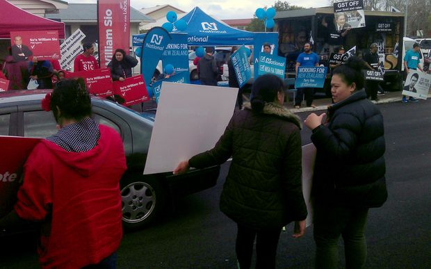 Political parties court the Pasifika vote at the Mangere markets during the 2014 election campaign.