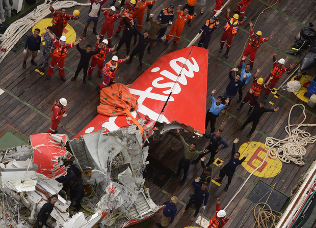 The tail of the AirAsia QZ8501 on the deck of the Indonesian Search and Rescue ship Crest Onyx after it was recovered.