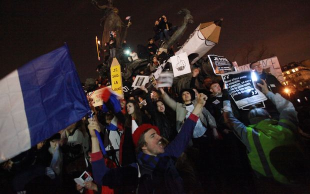 People take part in a Unity rally 'Marche Republicaine' in Paris.