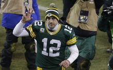 Green Bay Packers' quarterback Aaron Rodgers.