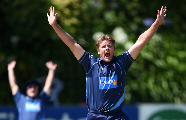 Auckland Aces bowler Michael Bates appeals for a wicket.