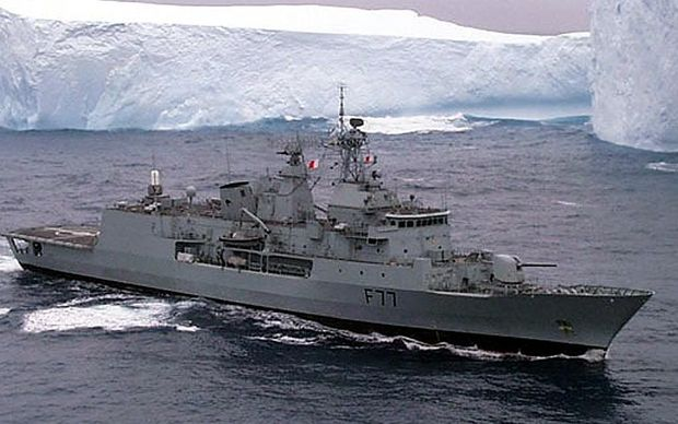 New Zealand's new frigate, Te Kaha, patrols past the Ross Ice Shelf in Antarctica on guard for pirate toothfishing boats.