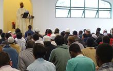 Men at Hamilton's Mosque during Friday prayers.
