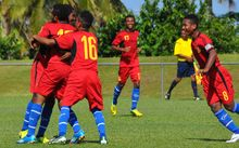 PNG players celebrate scoring a goal at the Oceania Under 17 Men's Football Championship.