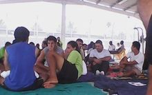 Asylum seekers in Manus Island camp