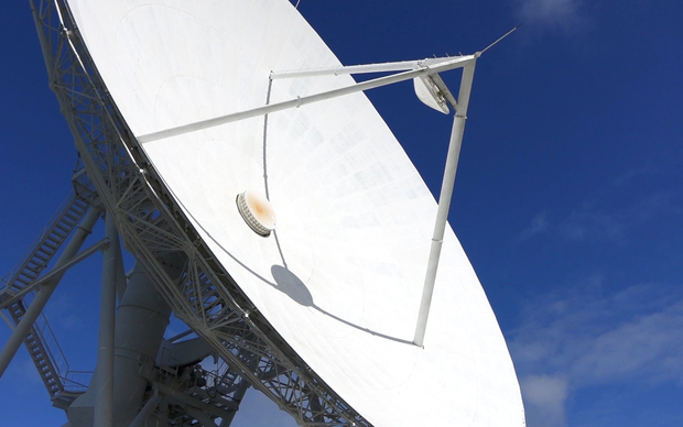 The 30 metre radio telescope dish at Warkworth operated by AUT University's Institute for Radio Astronomy and Research.