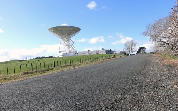 Sergei Gulyaev switches on the 30 metre radio telescope dish at Warkworth operated by AUT University's Institute for Radio Astronomy and Research.