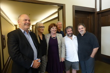 The meeting of the Screen Advisory Board. L-R is Steven Joyce, Jane Campion, Maggie Barry, James Cameron, Sir Peter Jackson and Jon Landau.