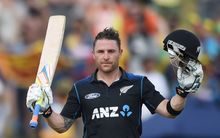 Black Caps' Brendon McCullum celebrates scoring a century.
