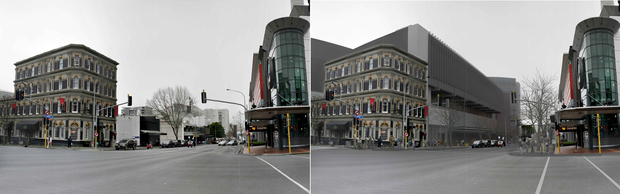 Before and after images of the convention centre.