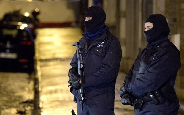 Police stand guard in Verviers.