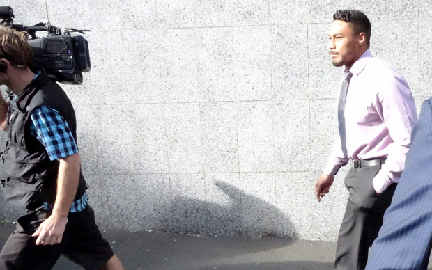 Guilty: Auckland Blues winger George Moala leaves the Auckland District Court.