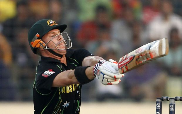 David Warner batting for Australia.