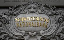 A sign at the Swiss National Bank headquarters in the Swiss capital Bern.
