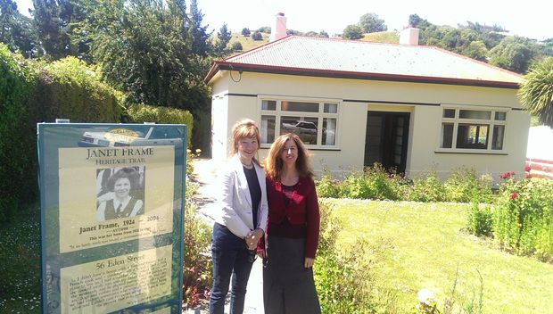Janet Frame House Trust chairperson Carol Berry (left) and curator of the house Lynley Caldwell.