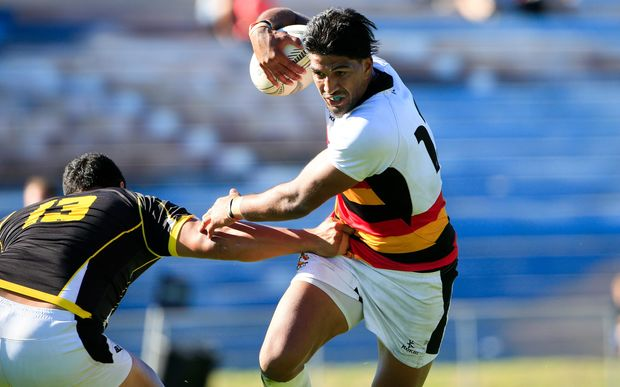 Waikato's Dylan Collier breaks a tackle.