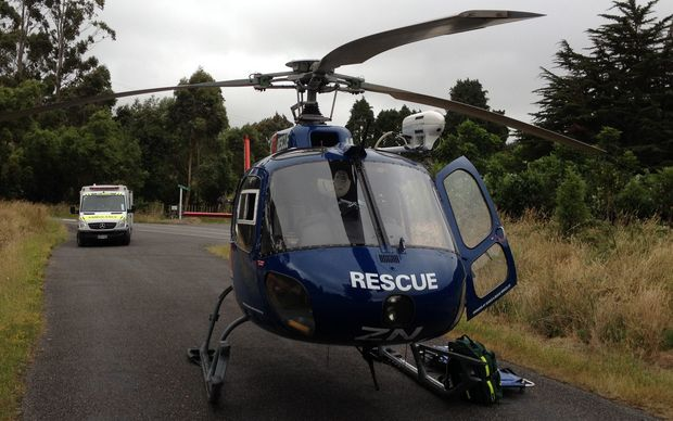 The man was flown to Wellington Hospital by rescue helicopter.