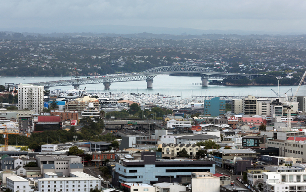 Auckland Harbour Bridge. View from Mount Eden summit.