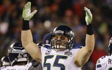 Heath Farwell of the Seattle Seahawks celebrates last year's Super Bowl win over the Denver Broncos