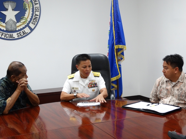 Joint Region Marianas commander Rear Adm. Bette Bolivar with Governor Iloy Enos and deputy Ralph Torres