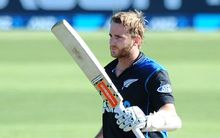 The Black Cap Kane Williamson celebrates his one-day international century against Sri Lanka in Nelson.