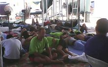 Asylum seekers during a hunger strike in Foxtrot Compound at the Manus Island detention centre.