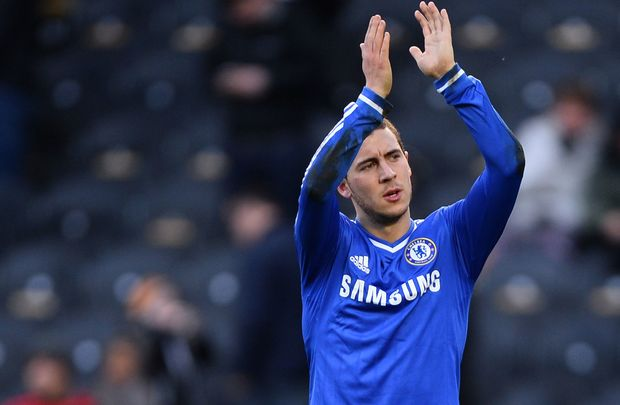 Chelsea winger Eden Hazard applauds the fans.