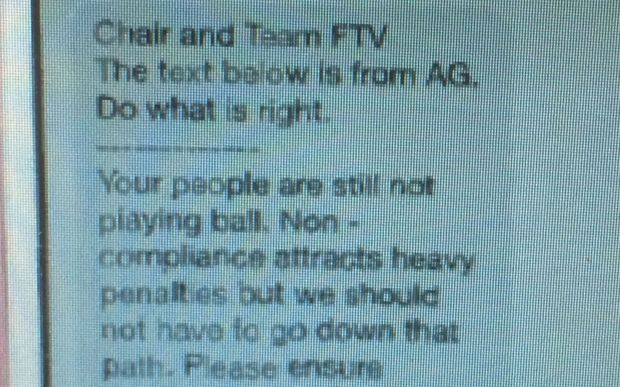 Text message from Fiji Attorney-General released by sacked Fiji TV execuctives