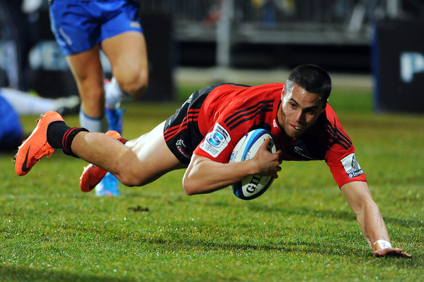 The former Crusaders player Sean Maitland scores a try.