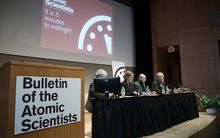 Scientists from the group Bulletin of the Atomic Scientists speak during a press conference after updating the Doomsday Clock.