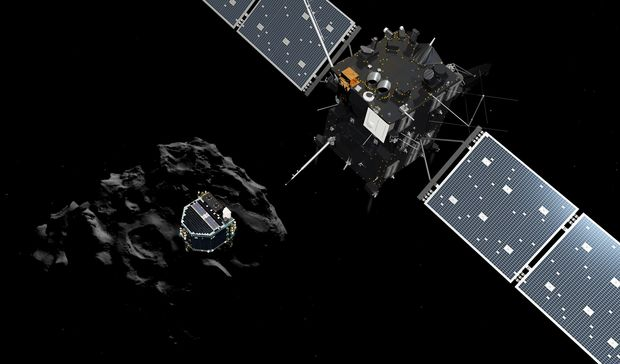 An artist impression of the European probe Philae separating from its mother ship Rosetta and descending to the surface of comet 67P.