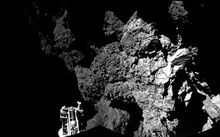 Rosetta's lander Philae on the surface of Comet 67P.