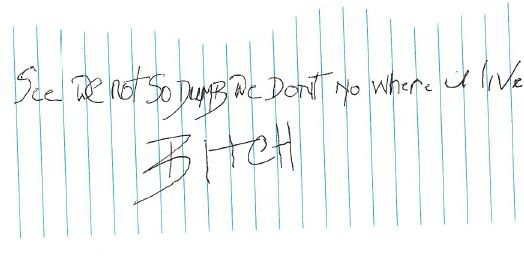 The note Rachel Stewart says she received in her mailbox.