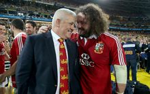 British & Irish Lions Tour To Australia 2013. Lion's head coach Warren Gatland and Adam Jones.