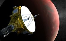 An artist's concept of the New Horizons spacecraft as it approaches Pluto and its three moons.