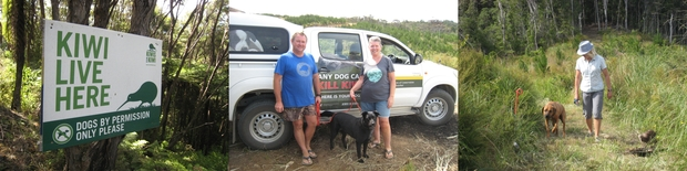 Sheila and Chris Westley, pictured in the middle with their dog Missy who has undergone the aversion training, keep a clear sign at the entrance to their property. On the right, Coromandel holidaymaker Adele Anderson takes her Ridgeback dog Rocky through the training.