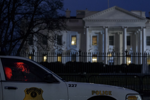 A member of the Secret Service uniformed division outside the White House.