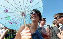 A festival-goer at Laneway enjoys the sun in Auckland on 26 January 2015.