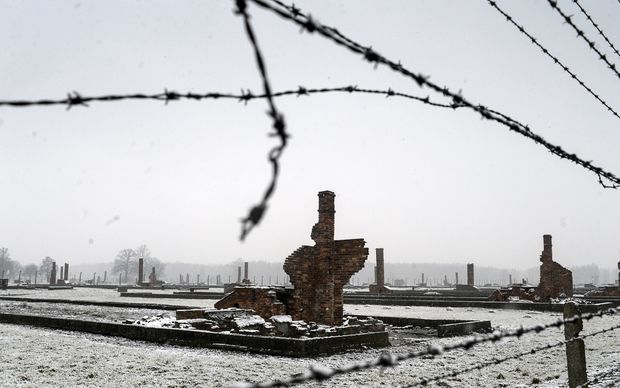 The ruins of the barracks at the former concentration camp Auschwitz-Birkenau.