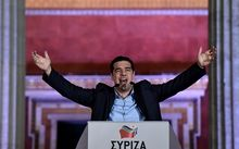 New Greek Prime Minister Alexis Tsipras addressing the country as the election results came in.