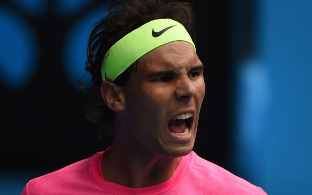 Spain's Rafael Nadal reacts during his men's singles match against Czech Republic's Tomas Berdych.