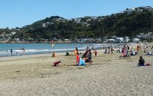 Crowds enjoy the hot weather at Wellington's Lyall Bay.
