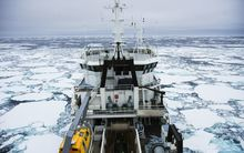 The Tangaroa navigates thick ice on a previous Southern Ocean trip.